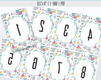 Floral Live Reverse Number Cards(1-999) | Live Sale Numbers, Number Tags, Facebook live numbers