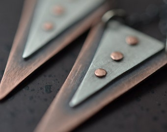 Triangle Riveted Copper and Silver Earrings