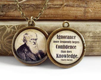 Charles Darwin Necklace - DOUBLE-SIDED Darwin Quote Pendant in Bronze or Silver