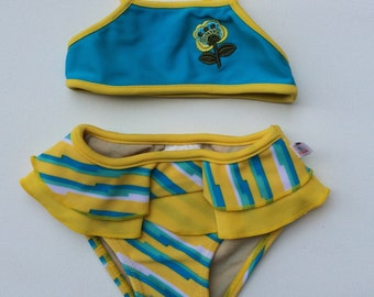 Blue and Yellow Striped Bikini (Childrens Size 6-9mo)