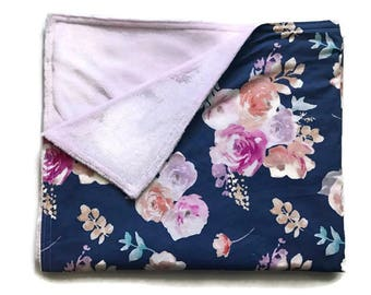 Watercolor Floral Stroller Blanket