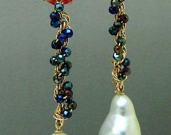 14k Gold Genuine South Sea Pearl Black Spinel Gemstone Chandelier Earrings