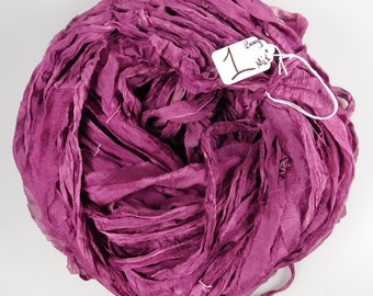 Sari silk ribbon, Recycled Silk CHIFFON Sari Ribbon, Burgundy sari ribbon, silk chiffon ribbon, tassel supply, weaving supply,