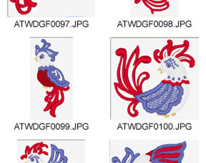 Mylar-American-Roosters ( 10 Machine Embroidery Designs from ATW ) XYZ17D