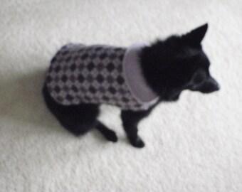 Shades of Purple Argyle Fleece Dog Coat
