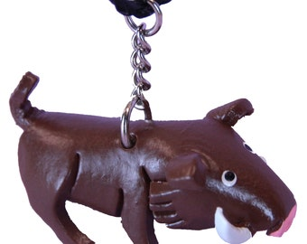 Warthog Accessories - Car Mirror Jewelry - Brown Leather Boar Pig Charm Gift - Hanging Charm Figurine For Auto - Figurine #7218