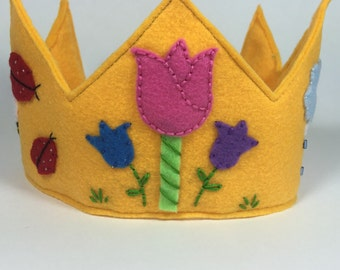 Spring Themed Girls Felt Crown, Birthday Crown