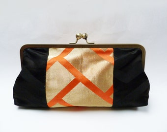 Clutch bag, black and orange decorative purse, evening purse