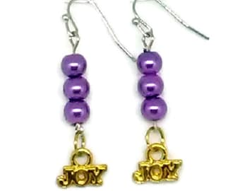 Joy Goldtone Charm with Purple Glass Pearl Beaded Earrings
