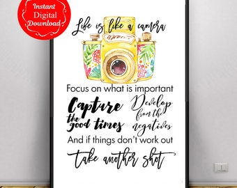 life is like a camera printable, photography download, photographer gift, downloadable prints, downloadable art, printable quotes,