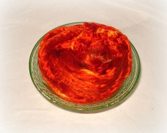 Mulberry Silk--Pumpkin 1/2 oz add in for batts and art roving