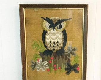 The Owls Are Not What They Seem — Vintage Embroidered Wall Art