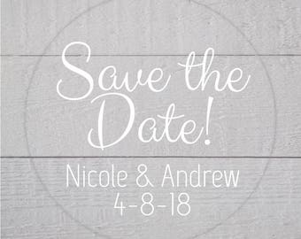 Save The Date Stickers, Transparent Sticker, Transparent Wedding Stickers, Wedding Favor Stickers (#136-C-WT)