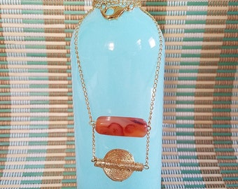 Agate and Gold Weight Necklace