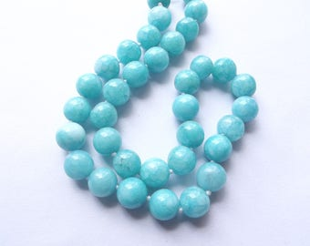 32 pearls smooth sea green jade colored (dyed) 12 mm PIER-265