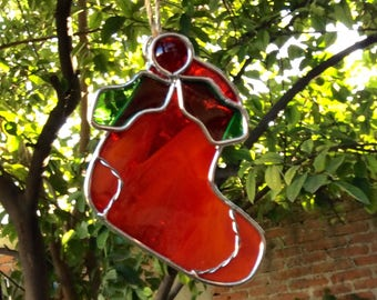 Christmas sphere / christmas sock / christmas suncatcher / tree suncatcher / stained glass / suncatcher / hanging decoration