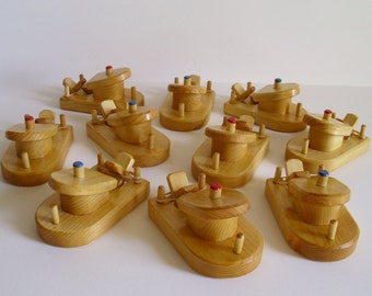 Buy 10- Pay for 9, Wooden Small Paddle Tug Boats, Rubber Band Powered Bathtub Wood Toy, Handmade Party Favor, Waldorf, Jacobs Wooden Toys
