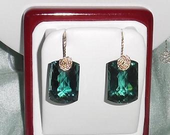 Natural 49 cts Cushion CKB Green Amethyst gemstones, 14kt yellow gold Pierced Earrings