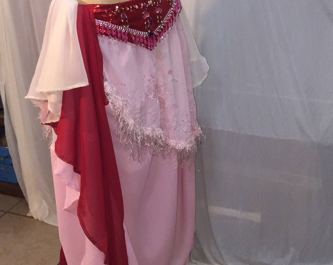 Featured listing image: Red, pink, white swirl skirt for bellydance.