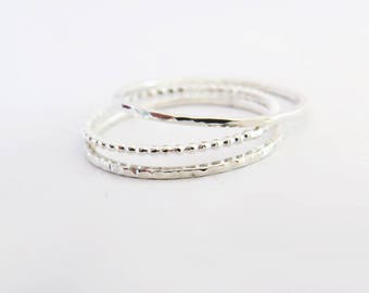 Ultra Thin Rings, Set of 3, Thin Delicate Dot Ring, Hammered Stacking Ring, 925 Sterling Silver Rings, Dainty 1,0 mm Rings