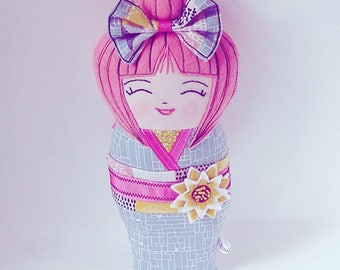 Kokeshi Art Doll, Asian Doll, Japanese Plush, Oriental Folk Doll, Heirloom Doll, Collectable Doll, Pink Haired Doll