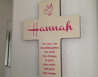 Granddaughter Cross Personalized with her name on Pine Wood / Dove (Roots & Wings) Baptism Easter, Birthday, First communion, gift for girl
