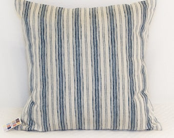 Blue and Gray Pillow Cover, Brunswick Denim Blue and Gray Striped Pillow Cover with Zipper Closure