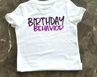 Girl's Birthday Shirt, Little Girl's Birthday Behavior Shirt, Birthday Party Shirt, Purple Glitter Birthday Shirt