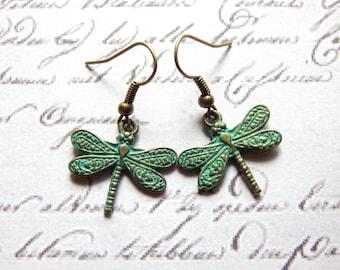 Dragonfly Earrings - Verdigris Patina Brass Ox Dragonfly Earrings - Nature Jewelry - Charm Earrings