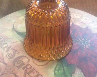 Vintage Indiana Glass Amber Fairy Light/Lamp--Diamond Point Pattern--TOP ONLY--Princess House 1970's