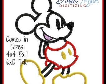 Mickey Mouse- Classic - Embroidery Machine Design - Applique - 4x4 5x7 6x10 7x10 Instant Download - David Taylor Digitizing