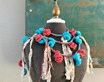 Red Rock Blue Sky Lariat in turquoise and coral - One of a Kind