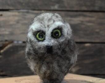 Adorable Needle Felted Baby Owl, Needle Felted Owl