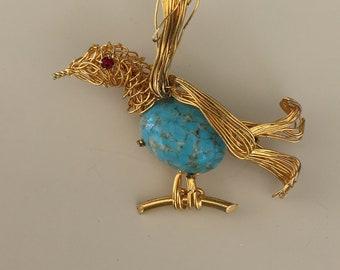 Unique vintage Figural  bird brooch
