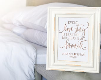 Every Love Story is Beautiful - Personalized Wedding- Paper Anniversary - Love Story Wall Art - Paper Anniversary Gift - 1st Anniversary