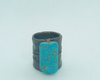 Large turquoise and copper ring