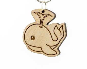 Spouting Whale Emoji Keychain - Wooden Cute Whale Emoji Carved Wood Key Ring - Whale Emoticon Engraved Charm