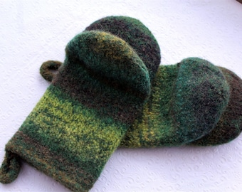 Knit Felted Wool Oven Mitt Set in Greens Browns Lime Green Yellow Knit Felted Oven Mitts Wool Oven Glove Set, Hostess Gifts Kitchen Gift