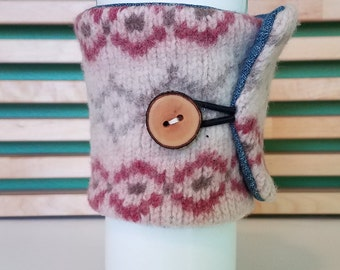 Wool Coffee Cardigan - Tea Cozy - Coffee Sleeve - Eco-Friendly - Reusable - Cream/Rose/Grey