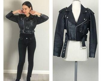 Black Leather 80's Crop punk motor jacket  Small Medium