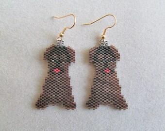 Beaded Dark Brown Puppy Earrings