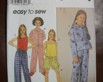 Simplicity 8929 Girls (Size AA 7 to 14 pajamas.  Easy To Sew!