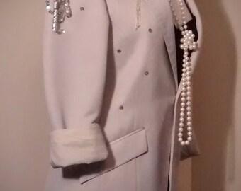 Embellished Vintage Men's Tuxedo Jacket with  Glitzy Sequin Appliqués and Shoulder Flounces