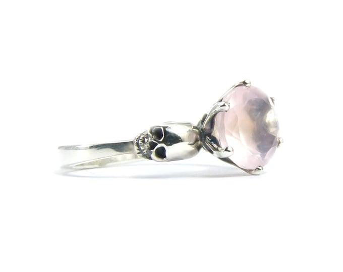 Valentines Skull Ring Size 4 READY TO SHIP Rose Quartz Stone Skull Ring Goth Engagement Pink Gemstone Ring Memento Mori Ring Psychobilly