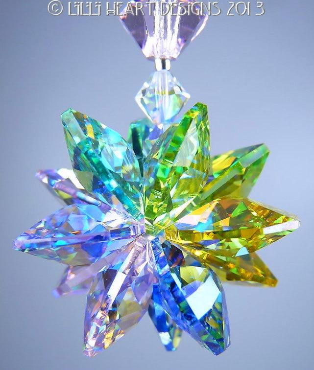 M W Swarovski Crystal Rare Pastel Ab Colors Suncatcher Or Rear