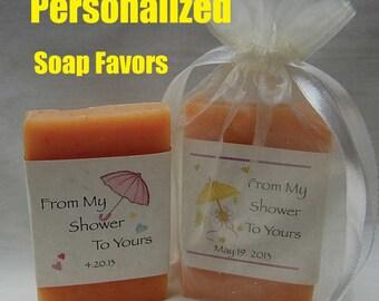 Bridal Shower Favors - Soap Shower Favors - Party Favors - Personalized Wedding Favors - Bridal Favor - 2 oz  soap favors