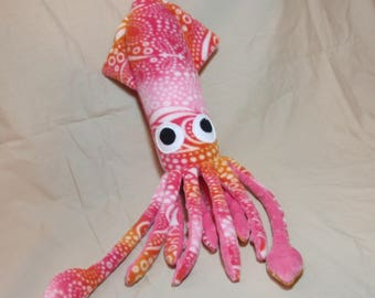Kiki the Pink and Orange Fleece Plush Squid Stuffed Animal