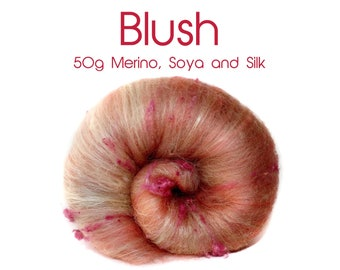 Spinning batt - pink - merino, Tussah silk, Soya - 50g/1.75 oz - BLUSH