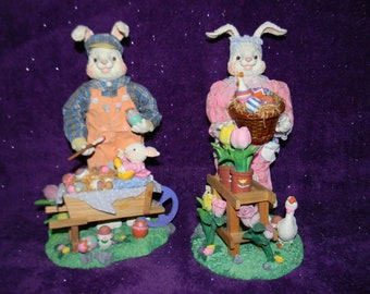 "Cottontail Easter Bunny Rabbit Figurines - 12"" - Polystone - Easter Bunny Rabbit Statue Pair"