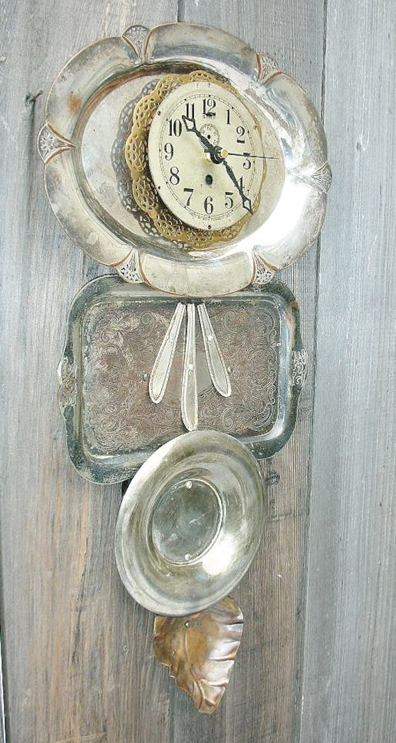 Metallic Wall Clock Collage Silver Plated Trays Brass And